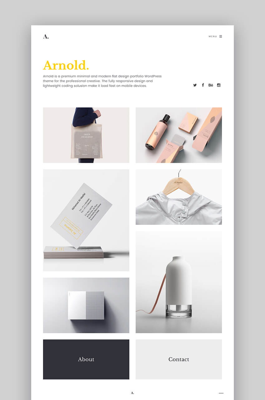 Arnold flat modern WordPress portfolio theme