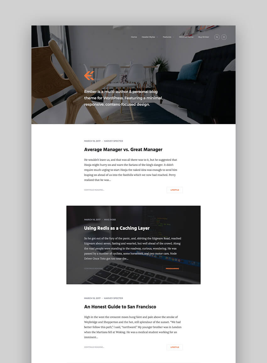 Ember flat modern design WordPress theme