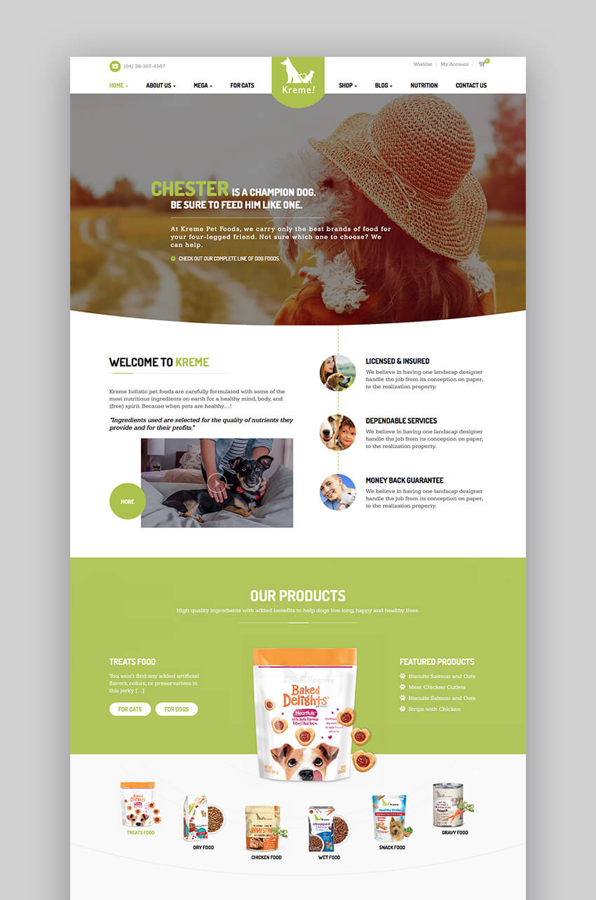 Kreme modern pet store WordPress theme