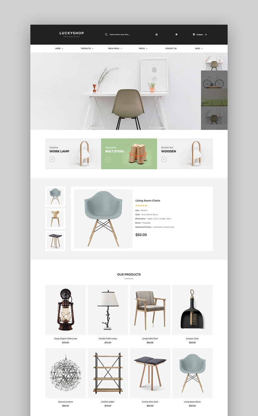 LuckyShop WooCommerce WordPress modern flat theme