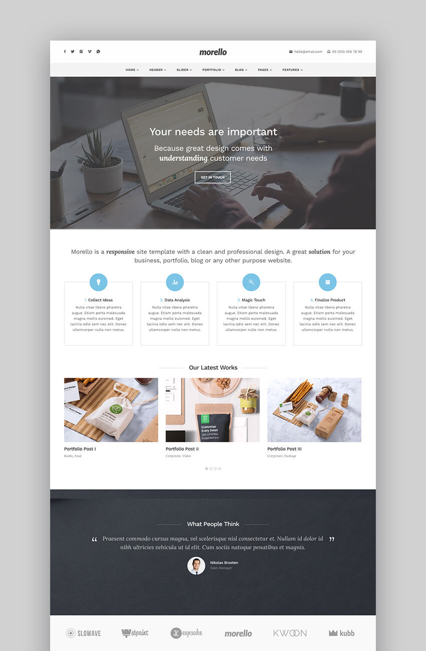 Morello modern flat photography WordPress theme