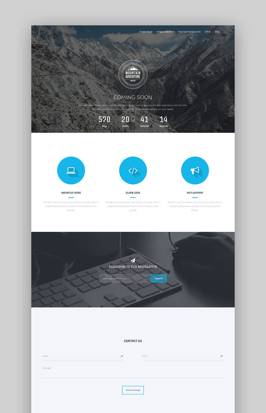 Mountain flat WordPress website theme design