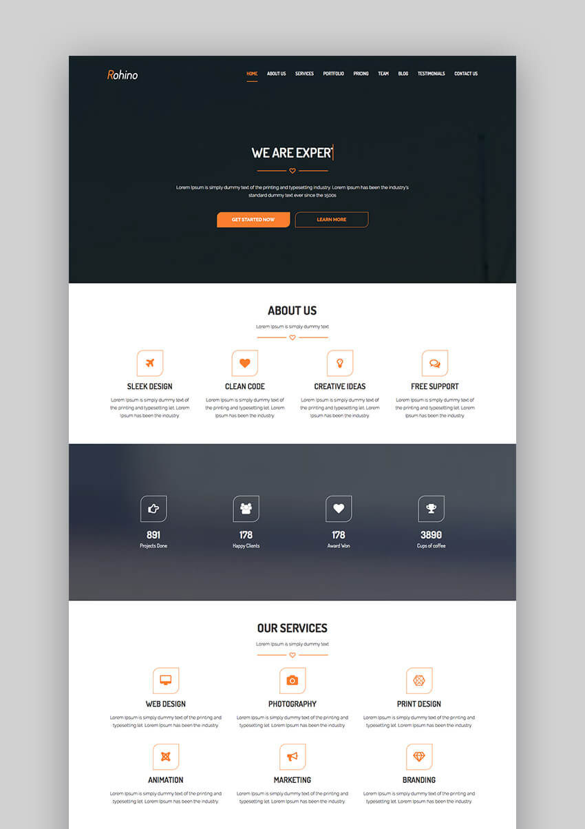 Rohino portfolio WordPress flat theme design
