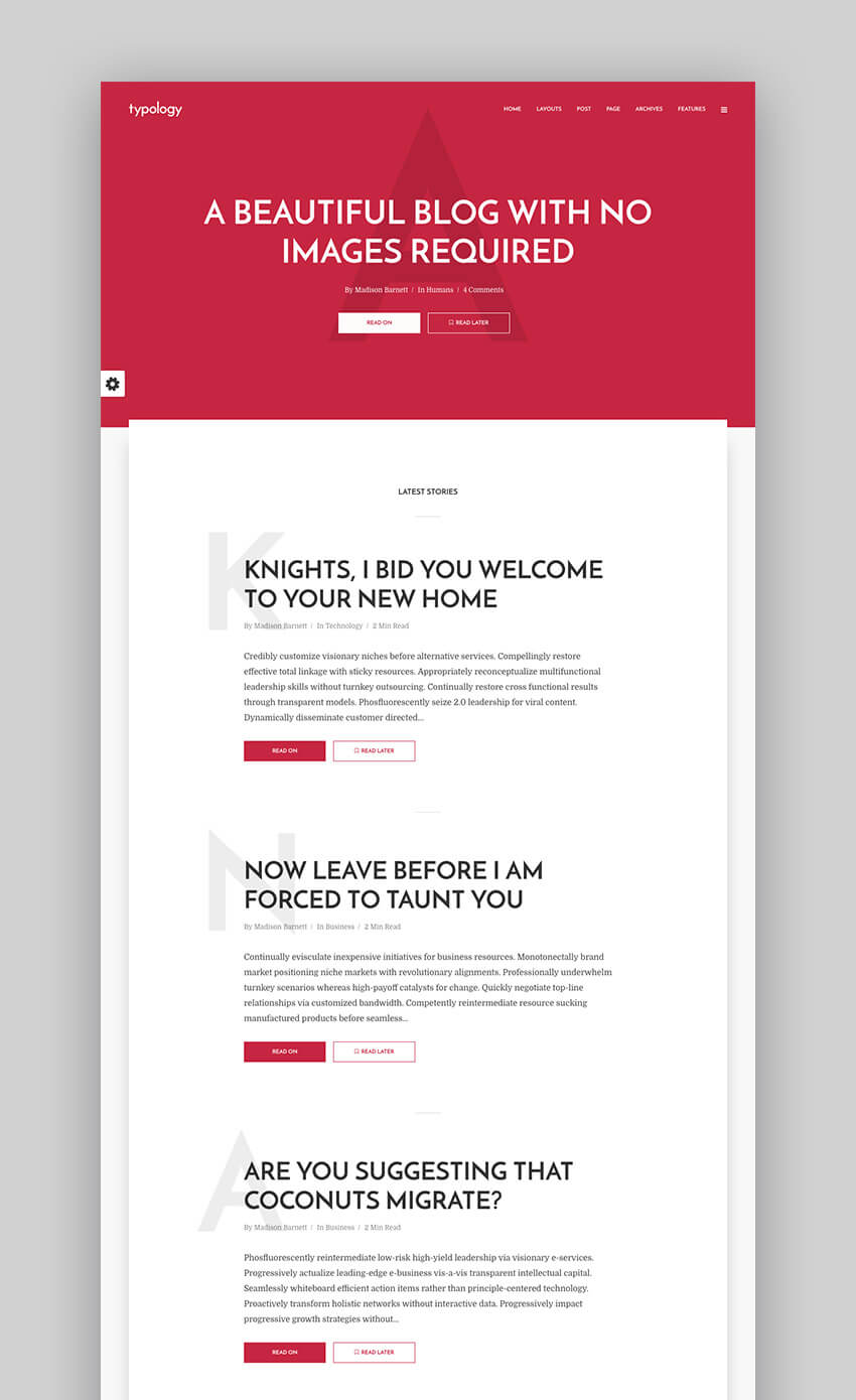 Typology flat WordPress blog theme design