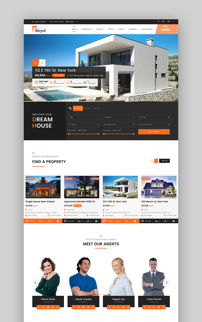 Beyot responsive WordPress real estate theme
