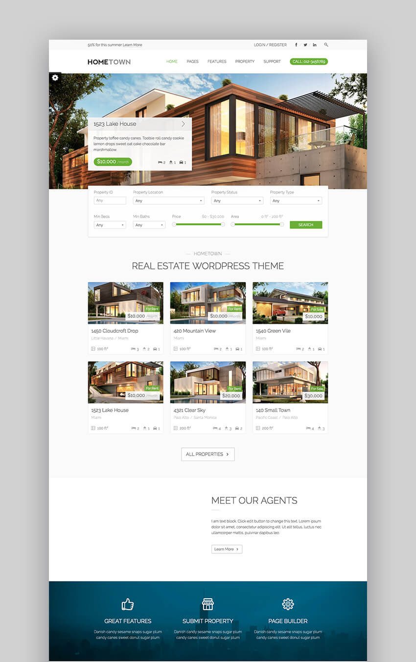 Hometown stylish WordPress Real Estate Template