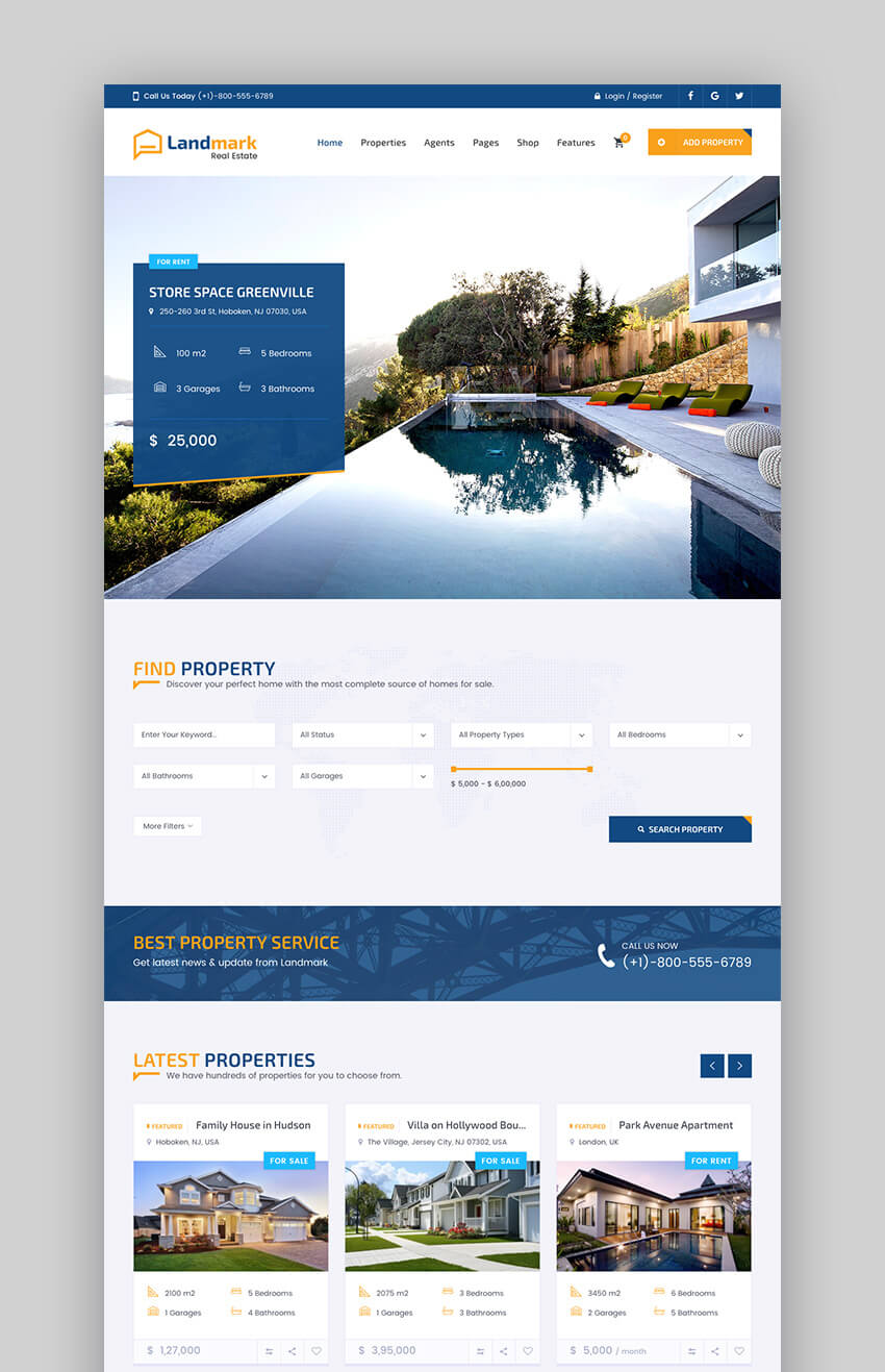 Landmark Versatile Real Estate WordPress Theme