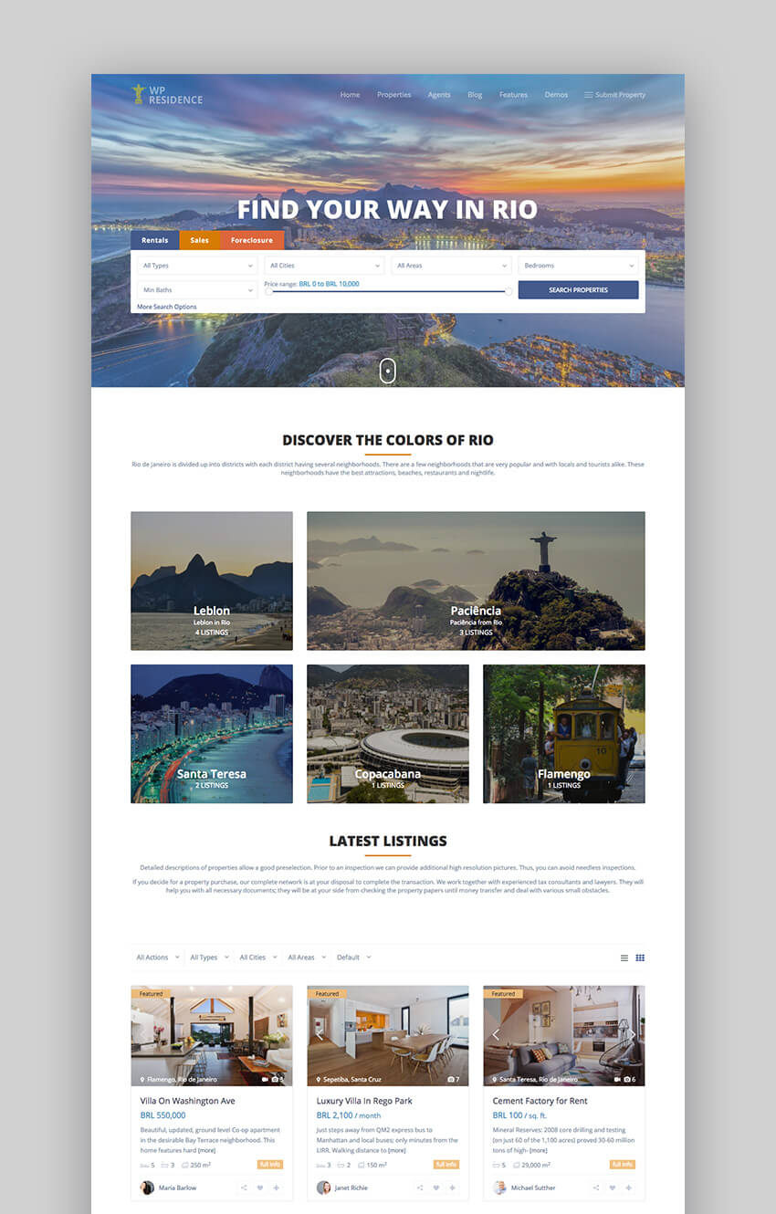 Residence Best Real Estate WordPress Theme