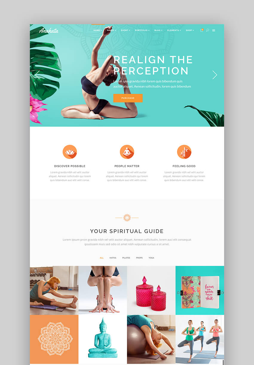 Anahata yoga and fitness WordPress beauty theme