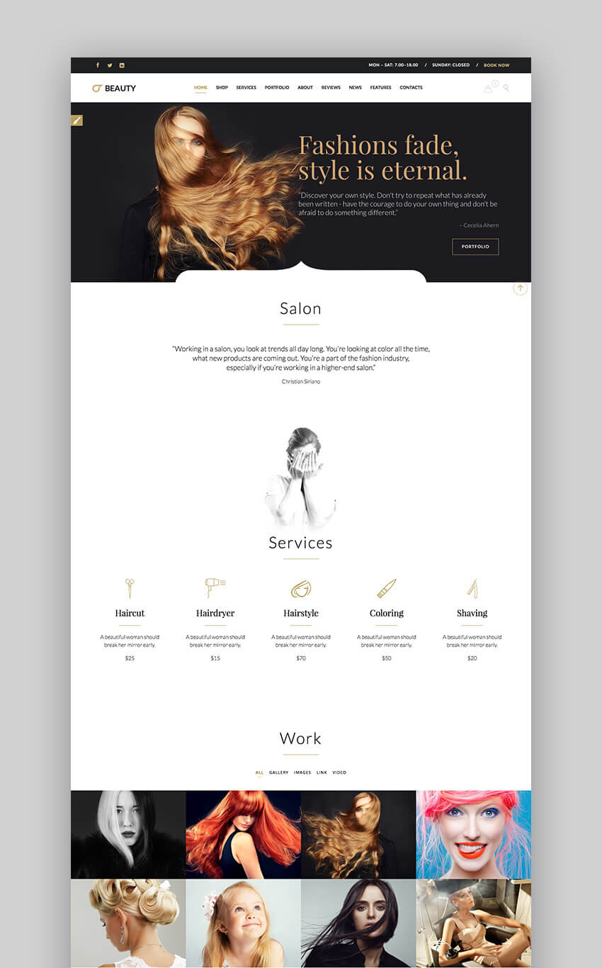 Beauty hair salon WordPress theme
