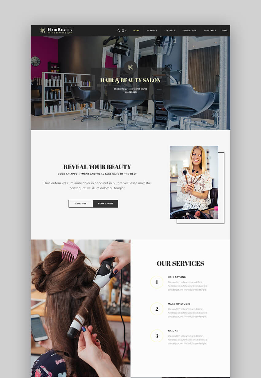 Hair Beauty Beautiful Salon Website WordPress Theme