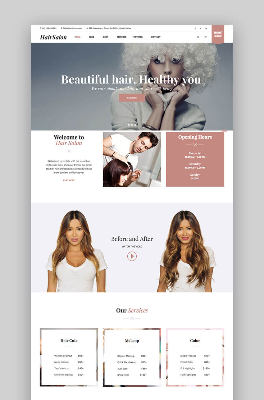 Hair Salon Customizable Beauty Theme WordPress