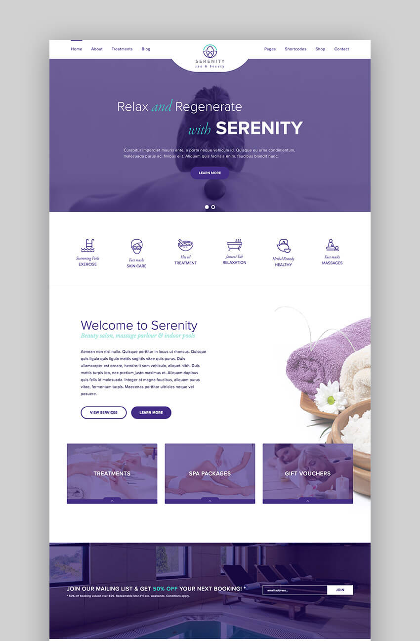 Serenity Space beauty salon and spa theme for WordPress