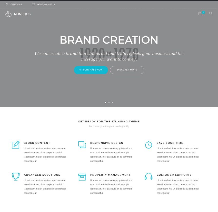 Modern WordPress website theme demo homepage