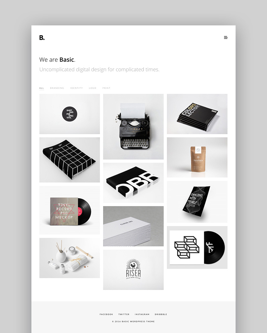 Basic - Powerful Minimal WordPress Portfolio Theme