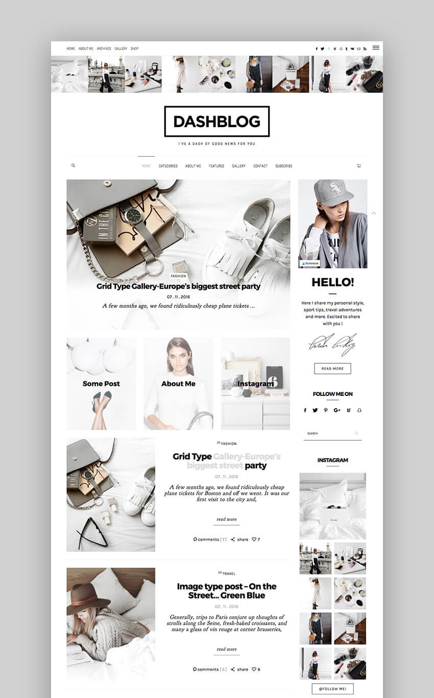 DashBlog Simple and Clean Personal WordPress Blog Theme