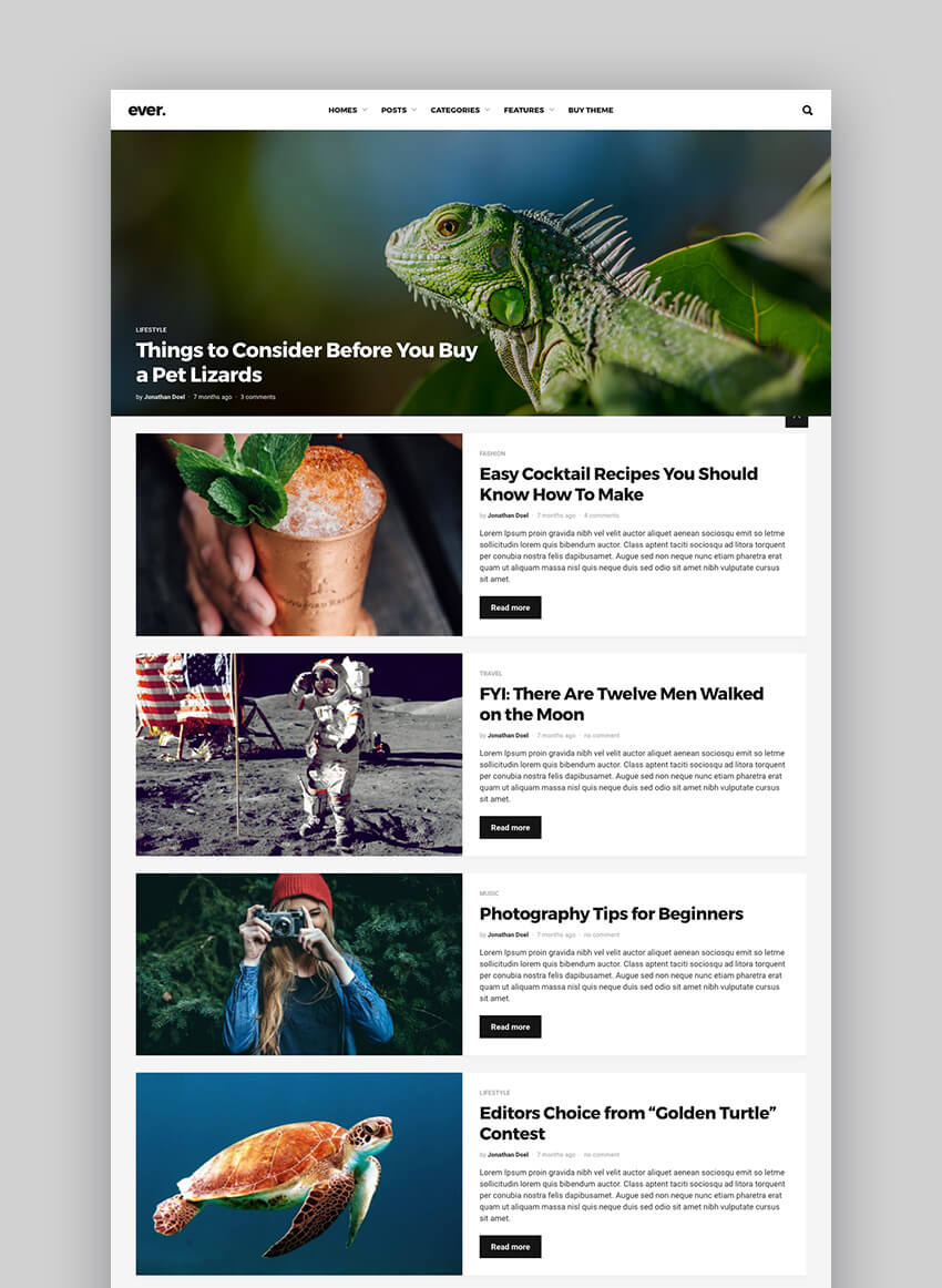 Ever Simple WordPress Blog and Magazine Theme