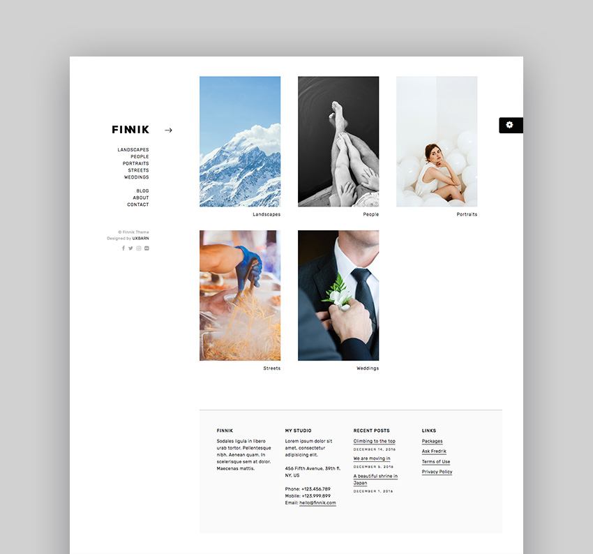 Finnik - Simple WordPress Theme for Photographers