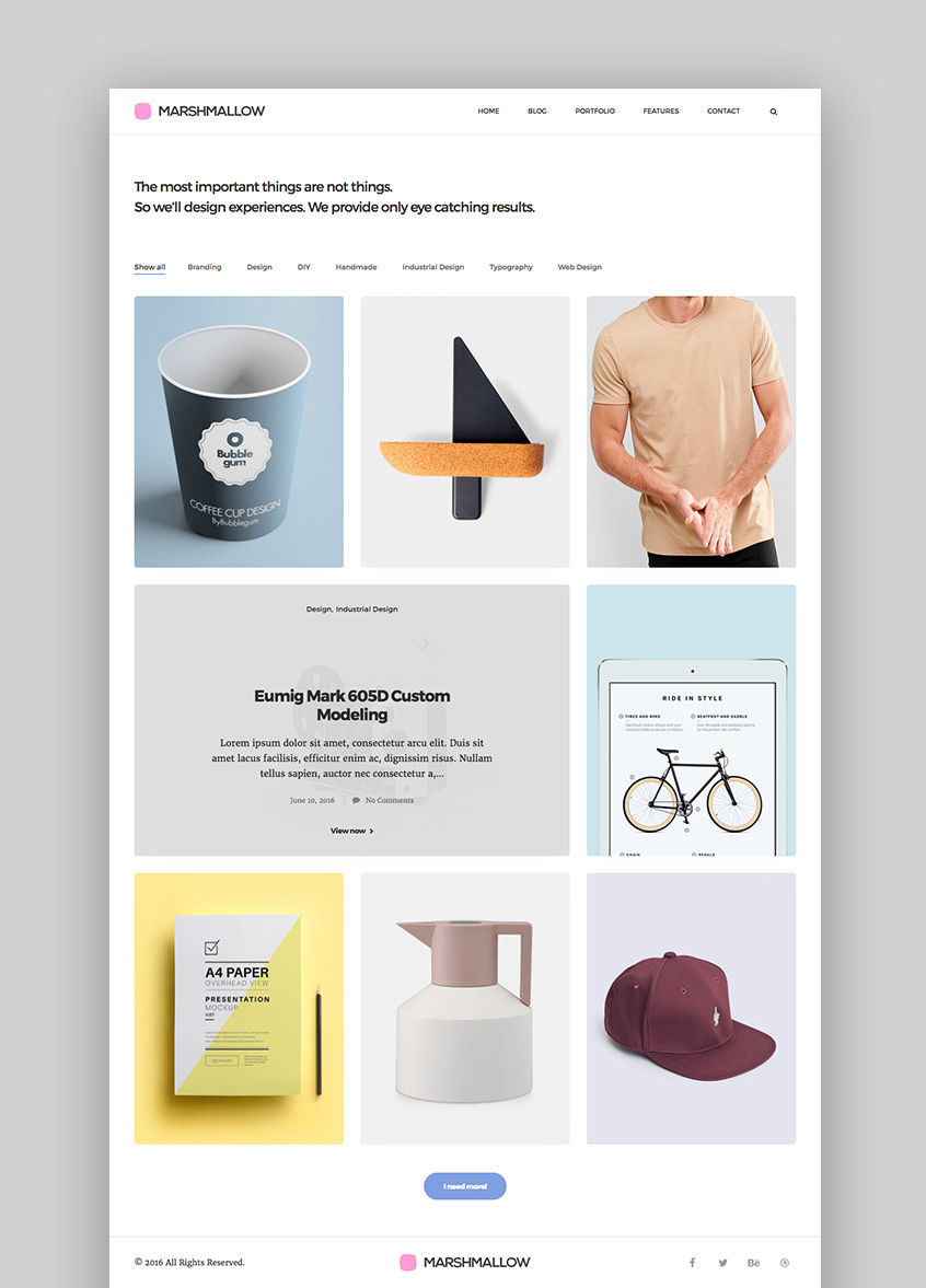 Marshmallow Simple WordPress Portfolio and Blog Theme