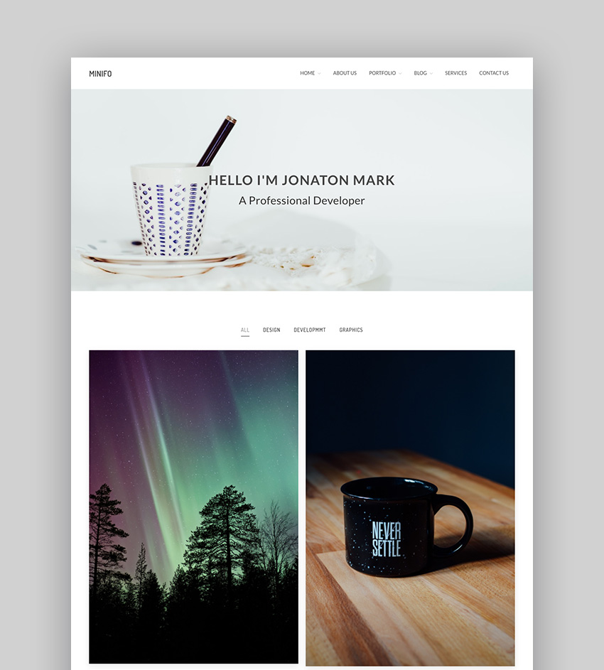 Minifo - Basic Responsive WordPress Portfolio Theme