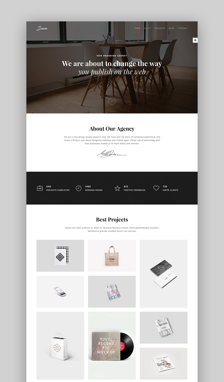 Snow - Simple Clean WordPress Portfolio Theme