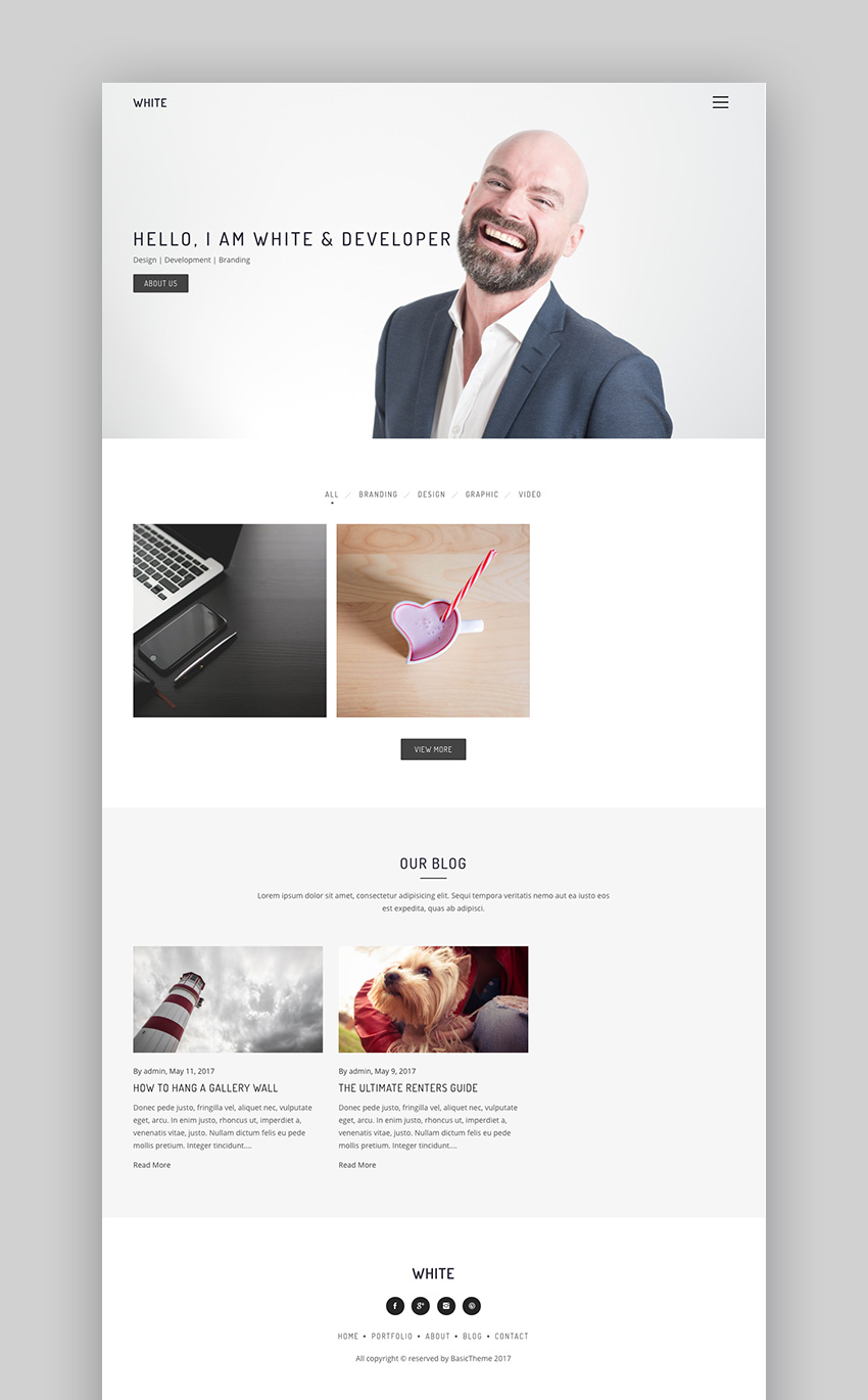 White - Simple WordPress Theme With Minimal Style
