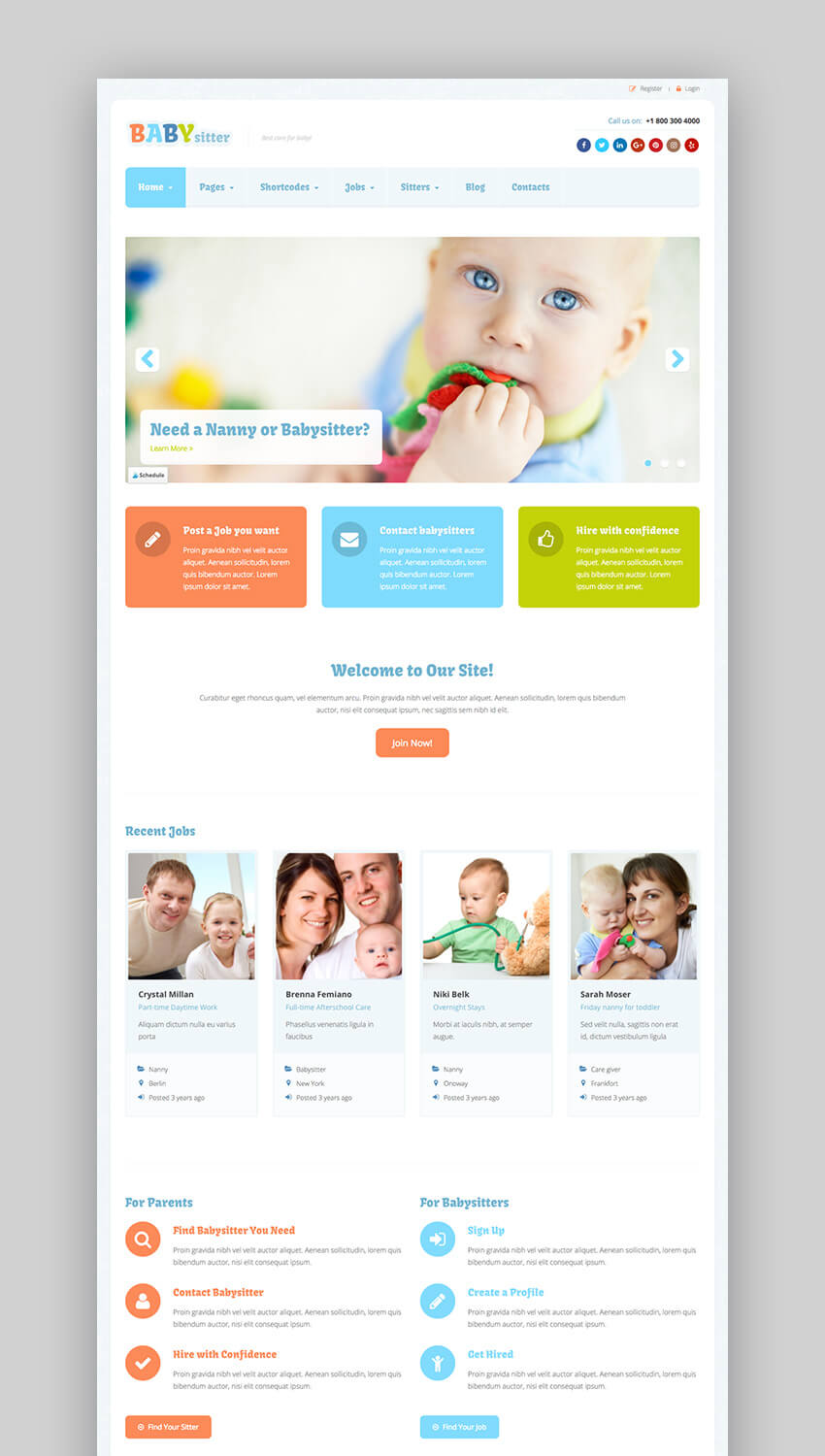 Responsive WordPress Theme For Babysitting Jobs