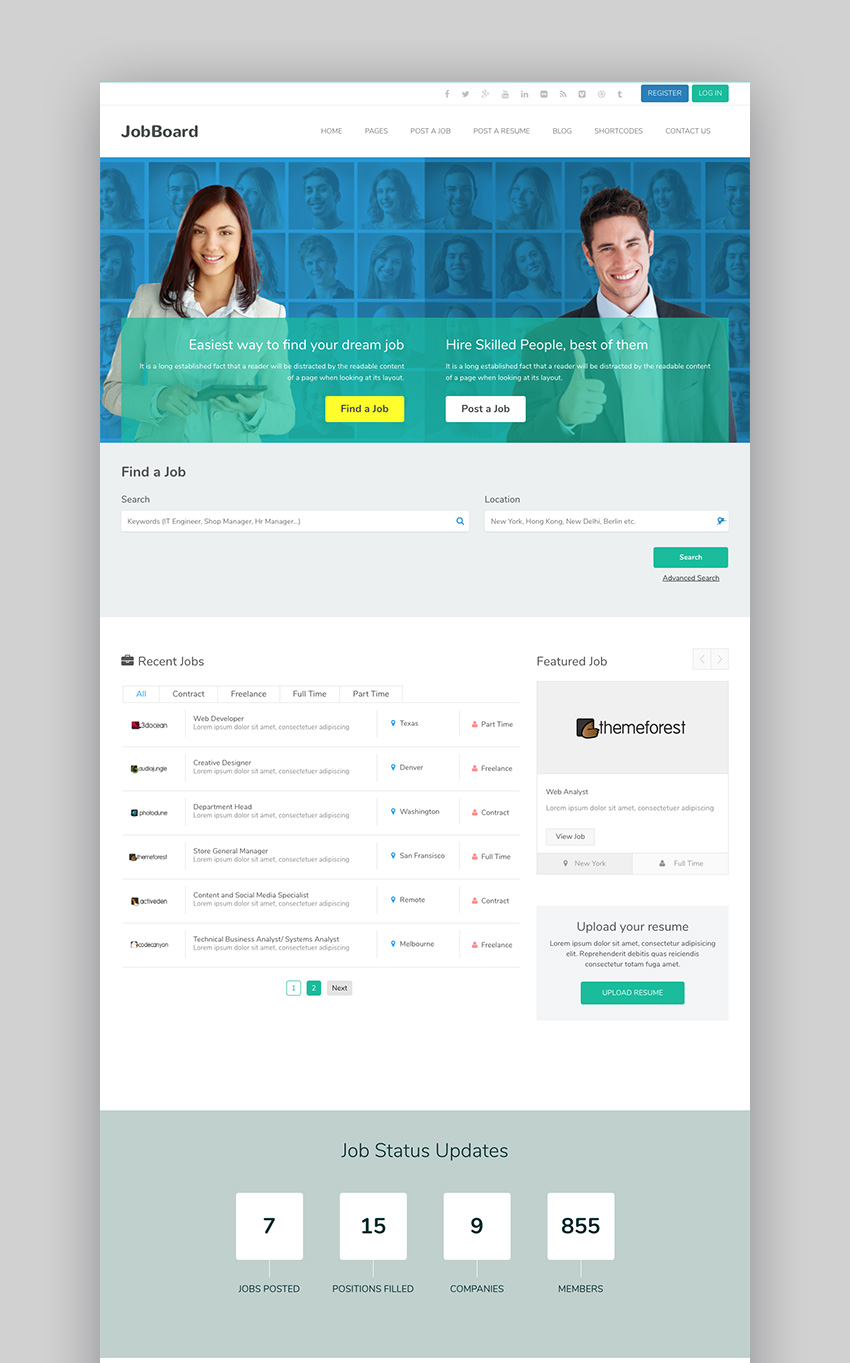 JobBoard Attractive WordPress Job Search Theme