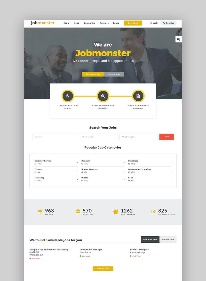 JobMonster clean job listing Wordpress theme