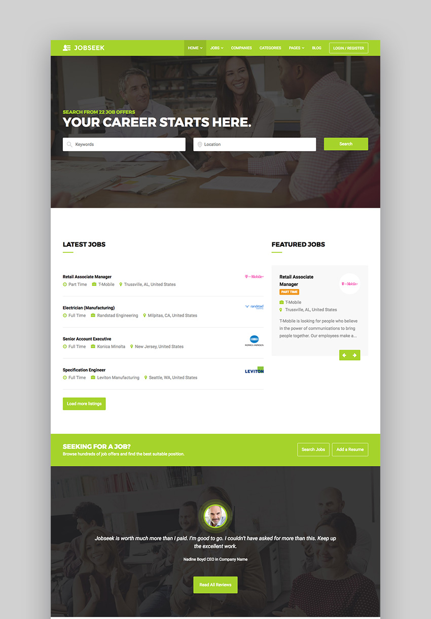 Jobseek - Agency Job Board WordPress Theme