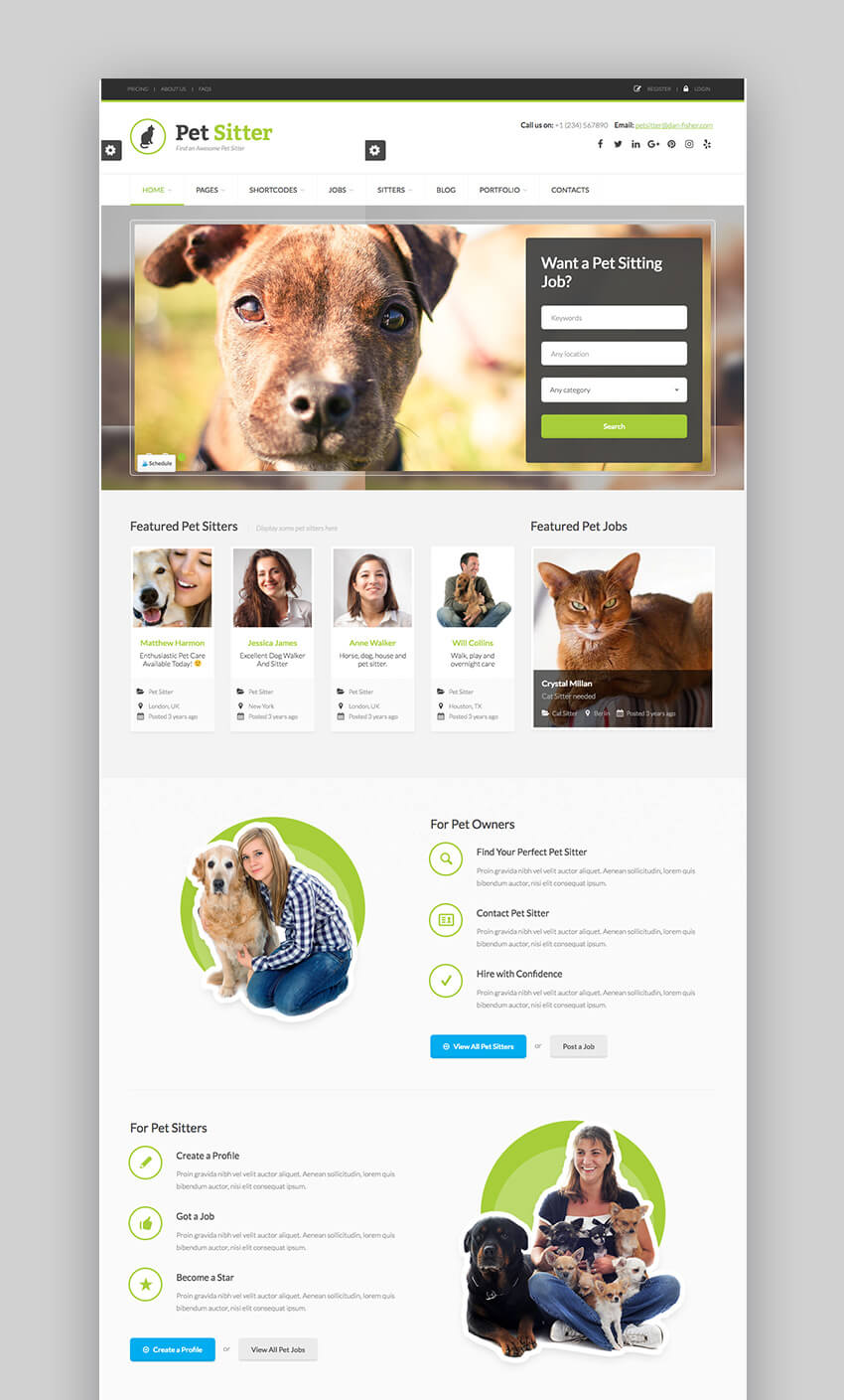 PetSitter Pet Job Board WordPress theme