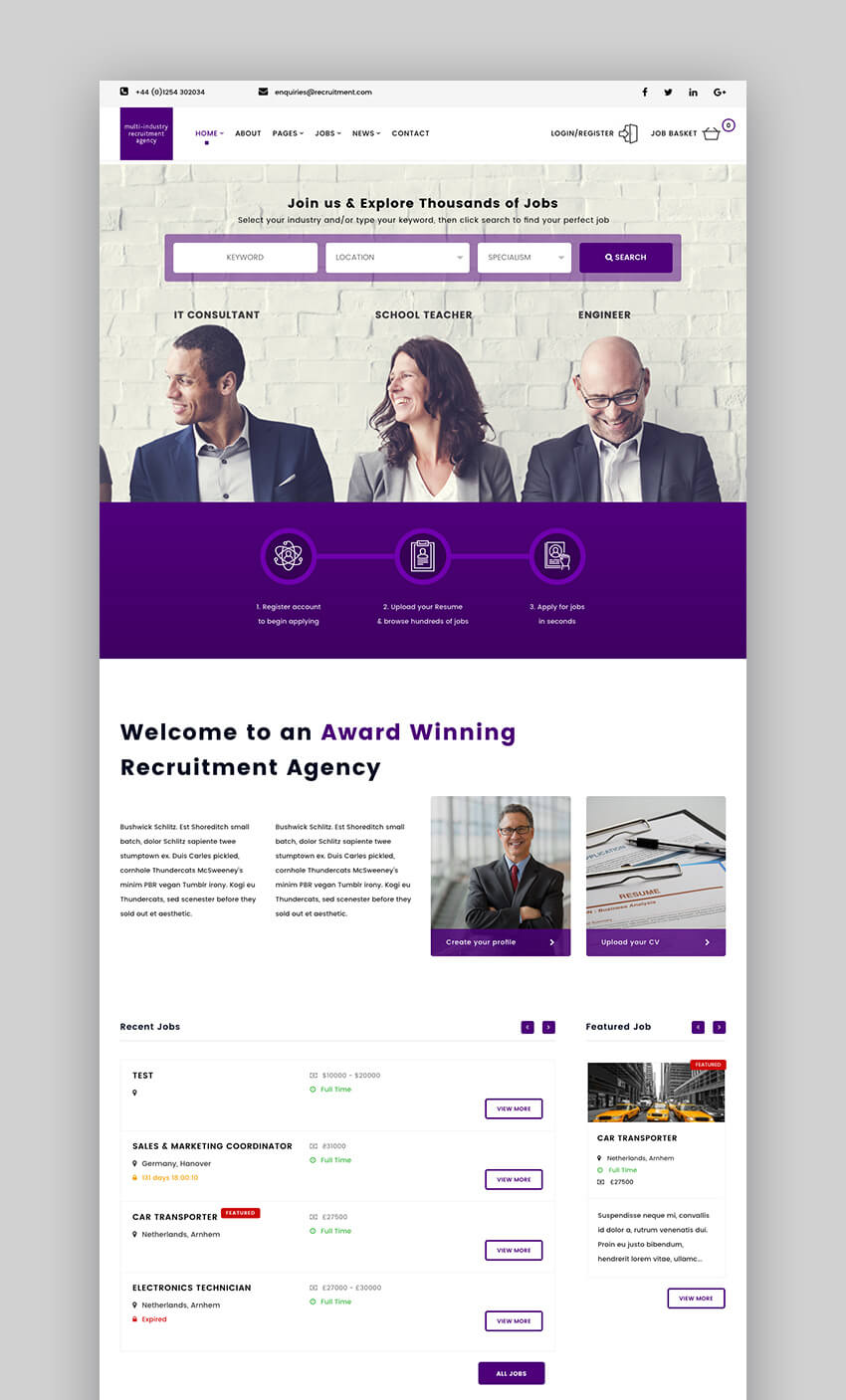 Recruitment Agency WordPress theme
