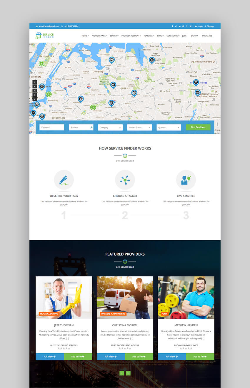 ServiceFinder business listing WordPress theme