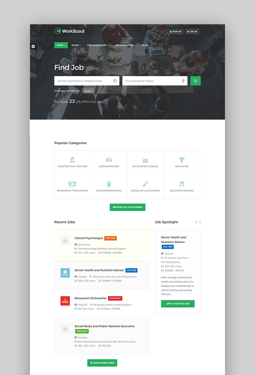 WorkScout modern job board theme