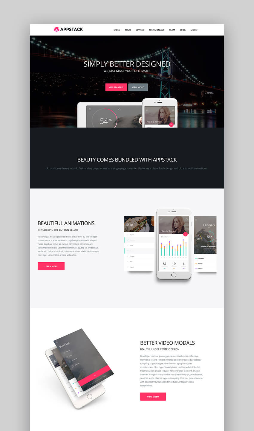AppStack one page app WordPress theme