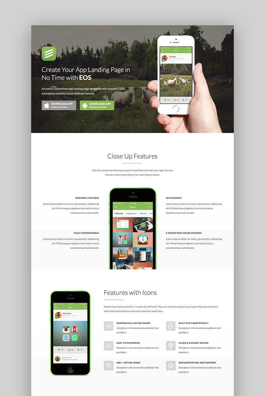 EOS Wordpress mobile app landing page theme