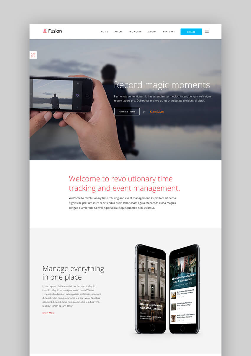Fusion mobile app WordPress theme