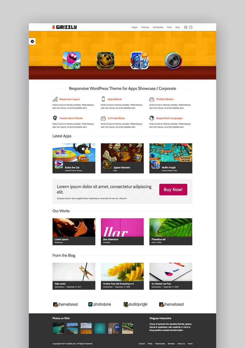 Grizzly Responsive App Showcase WordPress theme