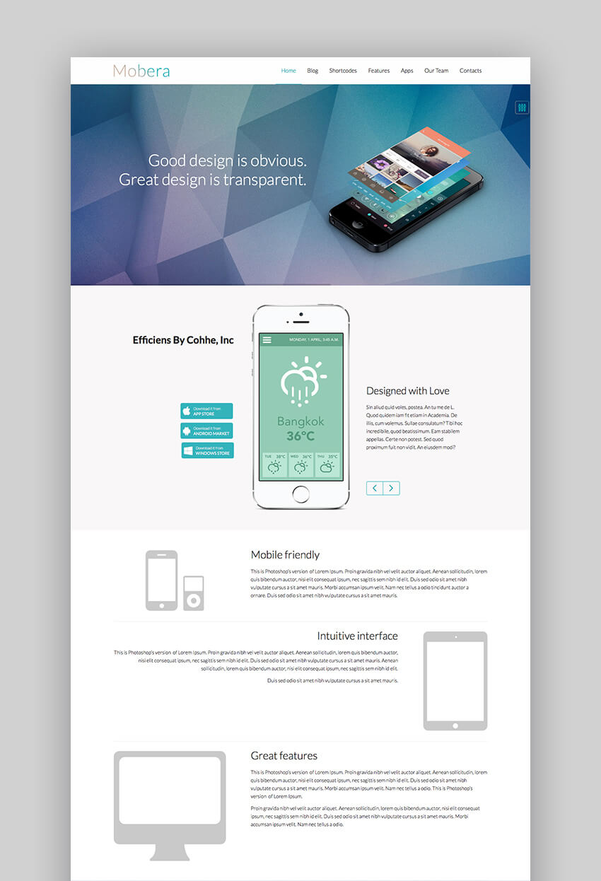 Mobera Powerful App Showcase WordPress Theme