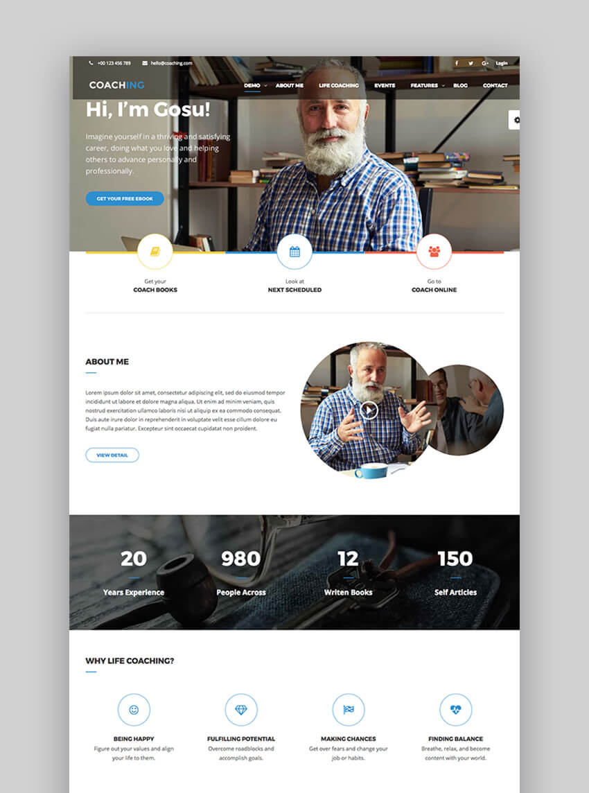 Coaching WP WordPress Theme for Speaker and Life Coaching