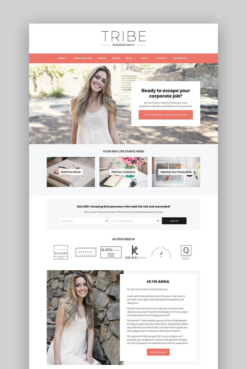 Tribe Feminine Coaching  Consulting WP Theme
