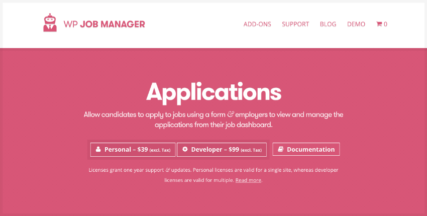 Applications job board plugin WordPress