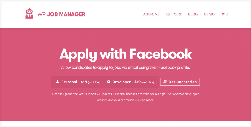Apply With Facebook job board plugin WordPress