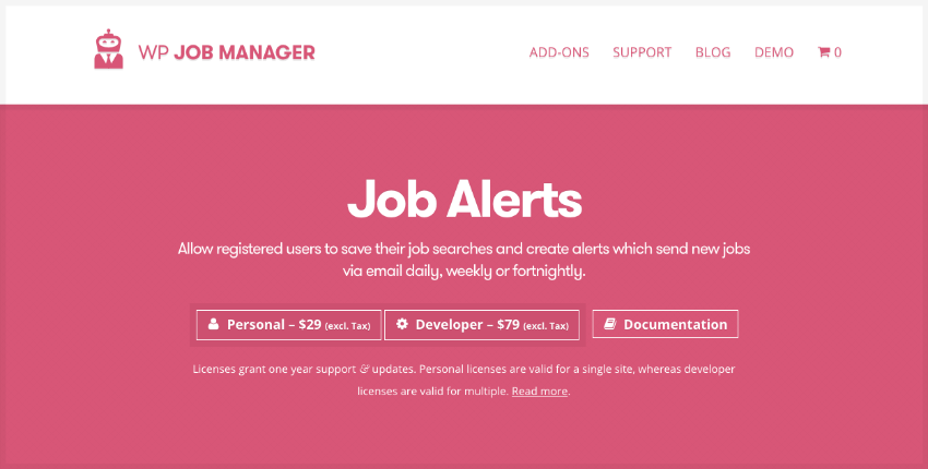 Job Alerts WordPress plugin