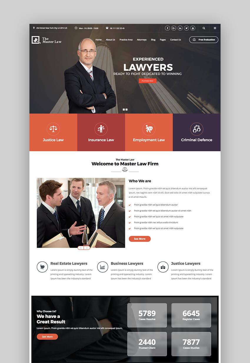 Master Law legal WordPress theme