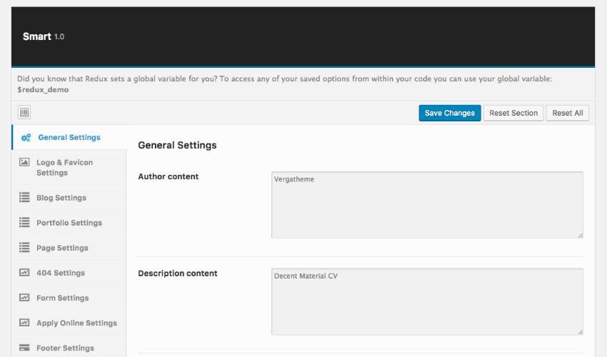 WordPress Theme settings