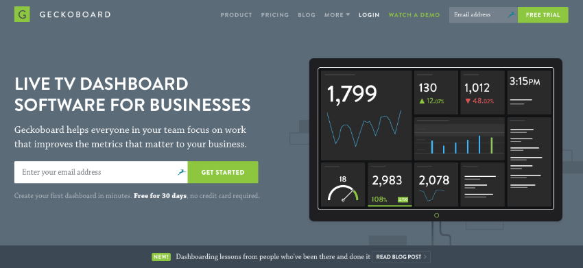 Geckboard flat website design example