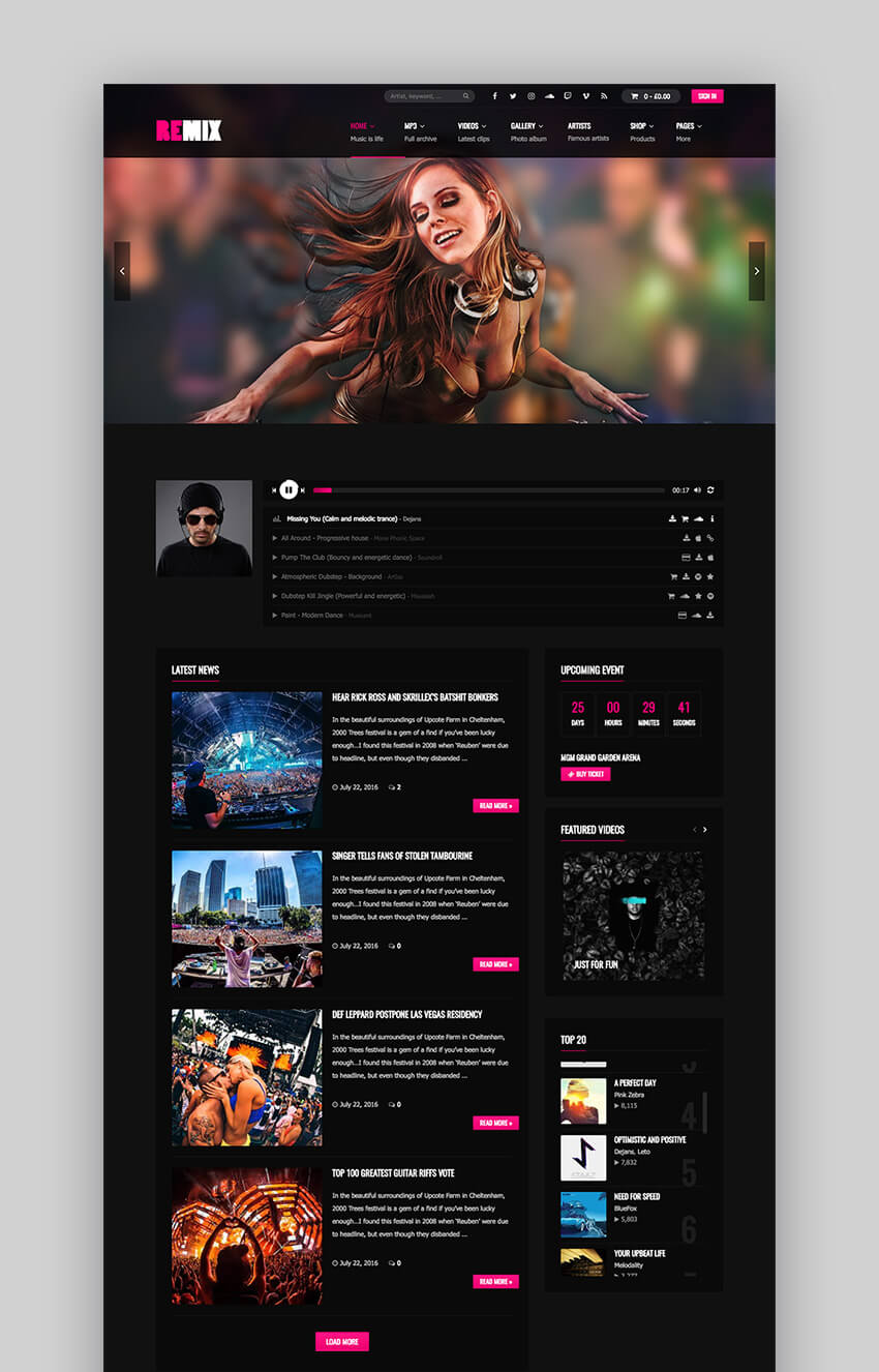 Remix Music WordPress Theme for Musicians  Bands
