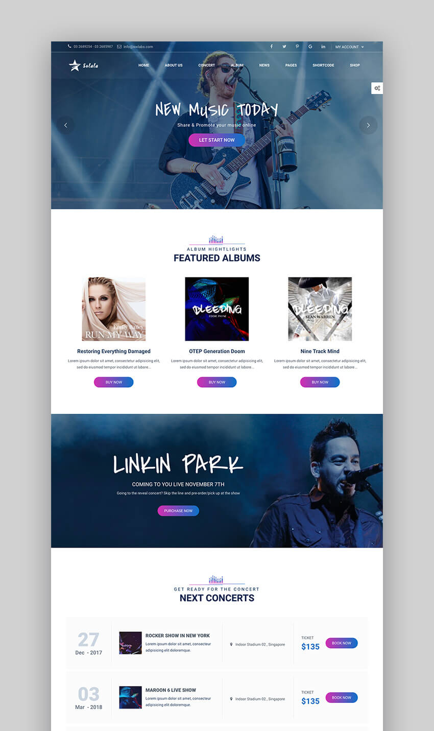 Solala WordPress Feature Rich Music Theme