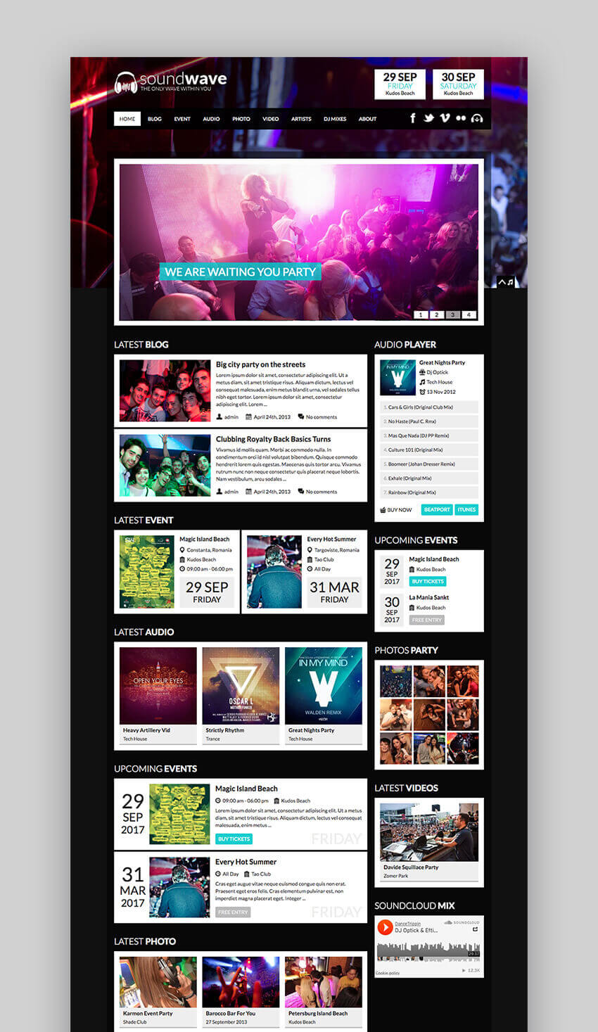 SoundWave Radio and Artist Music Theme for WordPress